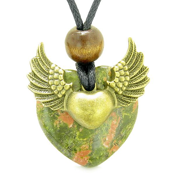 Natural Unakite Lucky Gemstone Hearts Necklaces Jewelry and Amulets