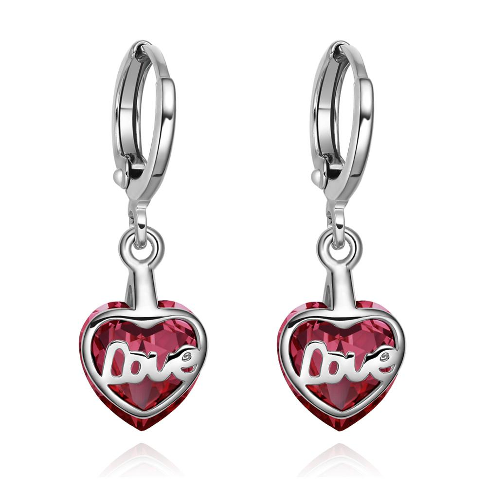 Cute Lucky Hearts Fashionable and Sparkling Earrings Jewelry and Gifts