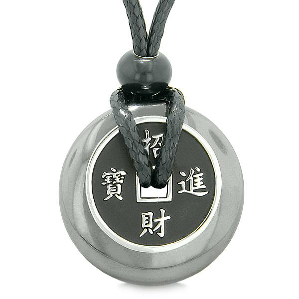 Hematite Gemstone Lucky Donut and Coin Amulet Jewelry