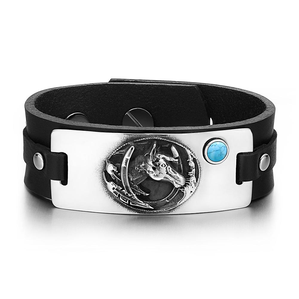 Unique Fashion Horse and Shoe Wild Mustang Good Luck Powers Leather Bracelets