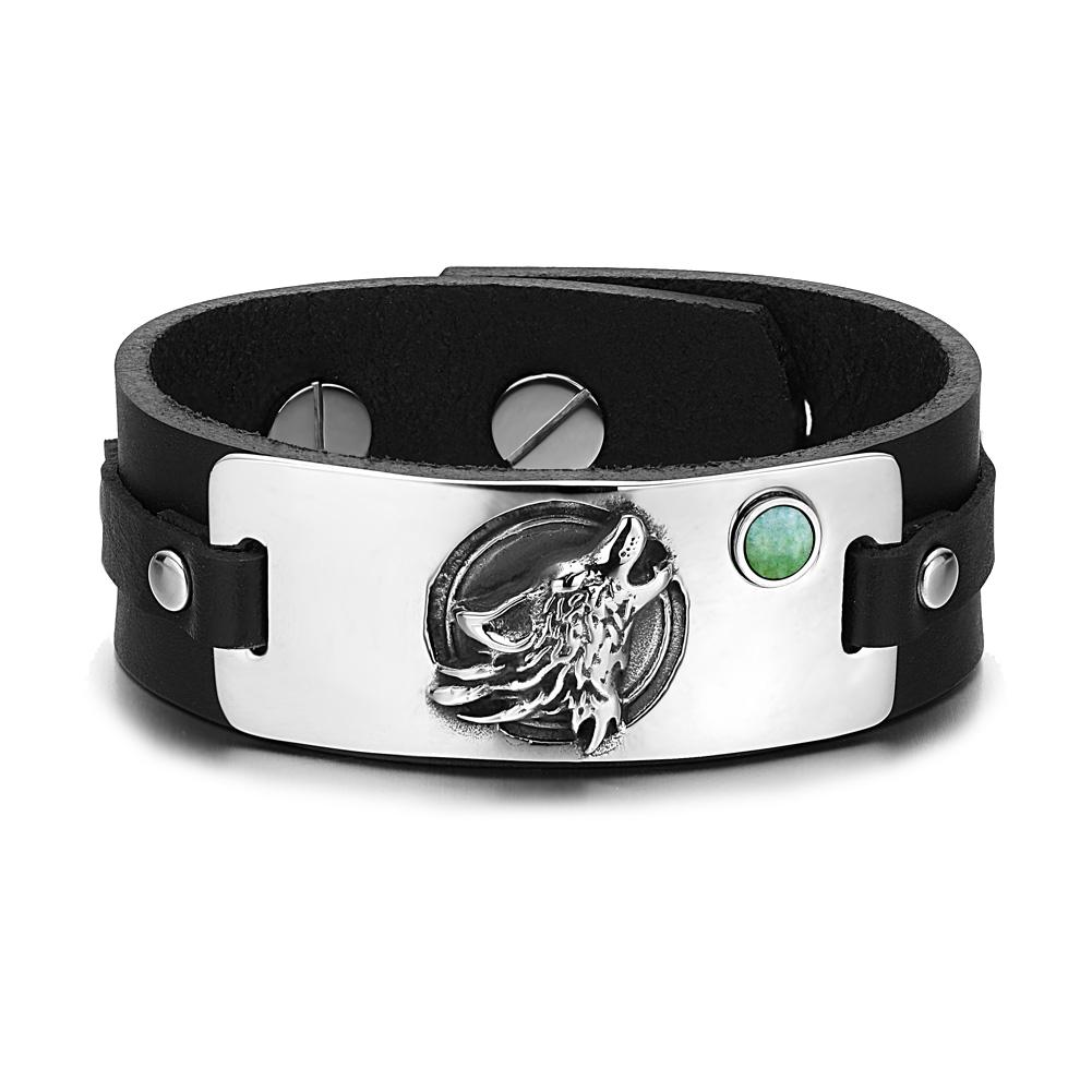 Howling Wolf and Moon Courage Powers Unique Amulets Leather Bracelets