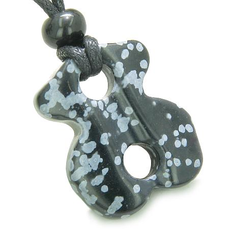 Tibetan Infinity Ancient Amulets in Snowflake Obsidian Gemstone