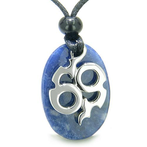 Tibetan Infinity Ancient Amulets in Sodalite Gemstone