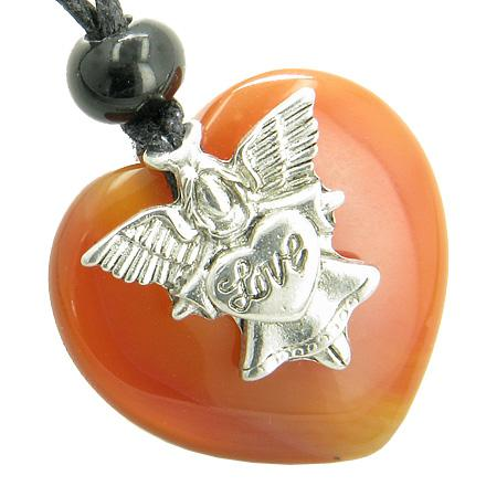 Inspirational Angel Protection Amulets in Carnelian Gemstone