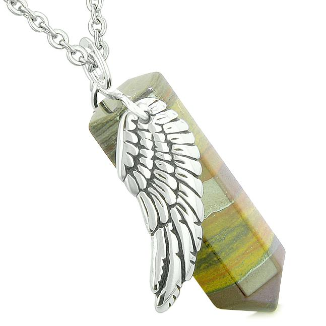Inspirational Angel Protection Amulets in Tiger Eye Gemstone