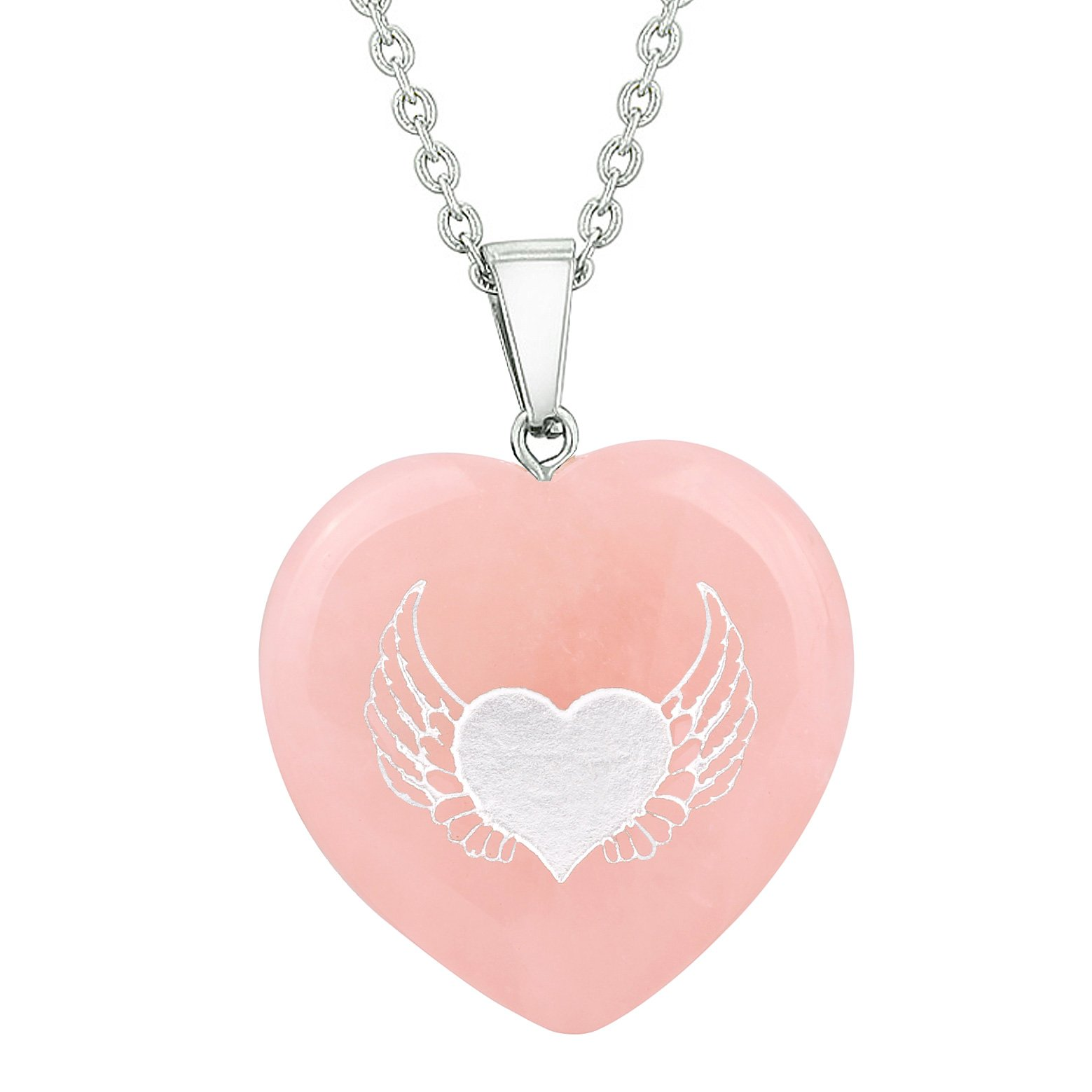 Emotional Control Rose Quartz Gemstone Crystal Heart Shaped Jewelry and Gifts