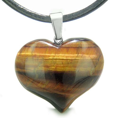 Discipline Control Tiger Eye Gemstone Protection Talisman Heart Shaped Amulets