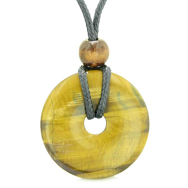 Discipline Control Tiger Eye Gemstone Protection Talisman Lucky Coin and Donut Amulets
