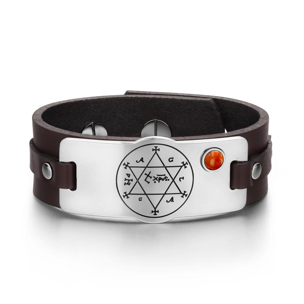 Unique Fashion King of Solomon Circle of Pentacle Positive Energy Leather Bracelets