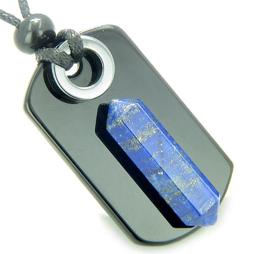 Lapis Lazuli Gemstone Dog Tag Amulets and Jewelry