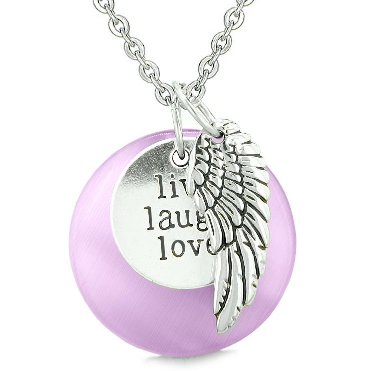Inspirational Live Love Laugh Angel Wings Medallions Fashion Jewelry Amulets and Talismans