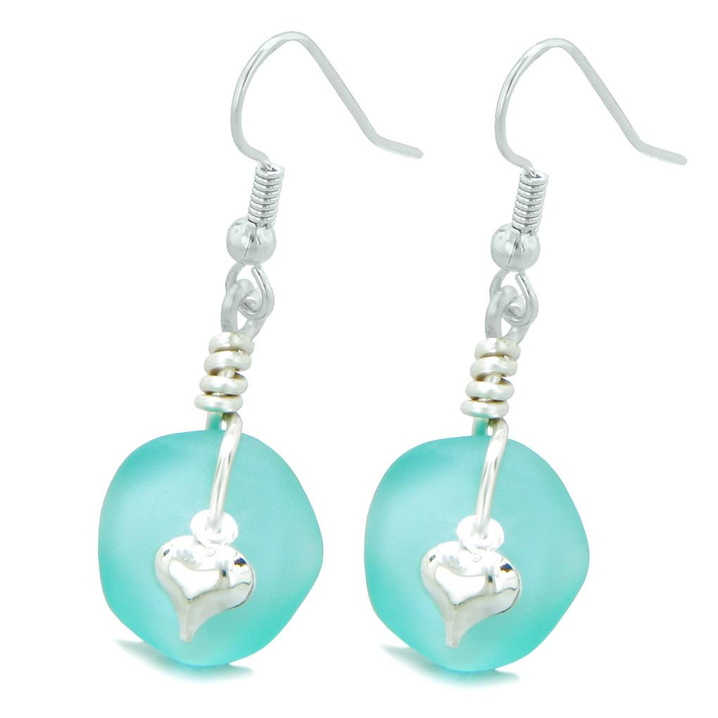 Sea Glass Jewelry Lucky Charms Frosted Earrings Magic Amulets and Talismans Gifts