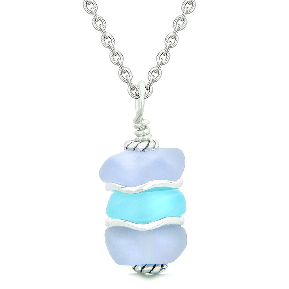 Sea Glass Jewelry Lucky Charms Icy Frosted Waves Necklaces Amulets and Talismans