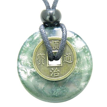 Gemstone Green Moss Agate Lucky Donut and Coin Amulet Jewelry