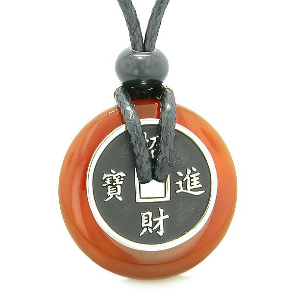 Lucky Coin Shaped Donuts Natural Carnelian Gemstones Amulets and Talismans