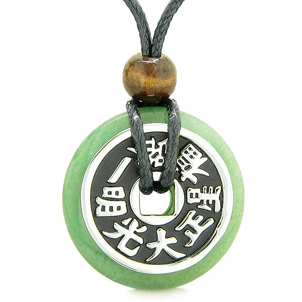 Lucky Coin Shaped Donuts Natural Aventurine and Green Quartz Gemstones Amulets and Talismans
