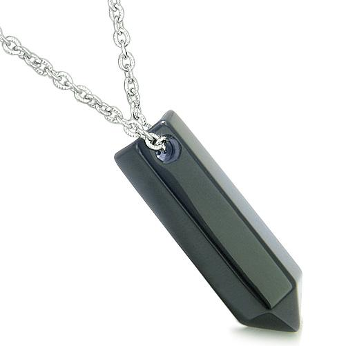 Lucky Crystal Point Wands Natural Black Onyx and Agate Necklaces Jewelry and Amulets