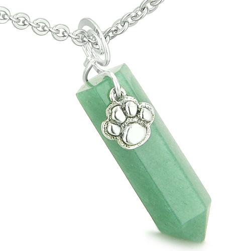 Lucky Crystal Point Wands Natural Green Aventurine and Quartz Necklaces Jewelry and Amulets