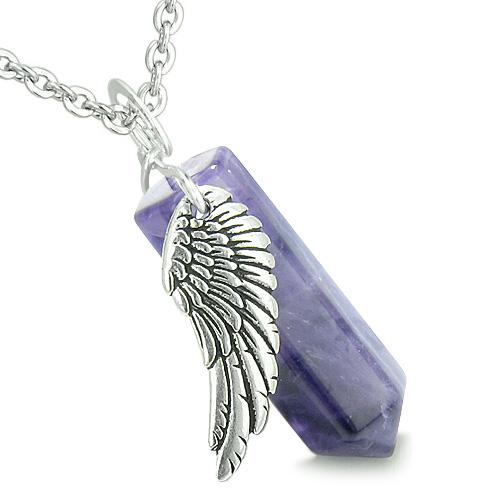 Lucky Crystal Point Pendants Guardian Angel Unique Wand Gemstone Necklaces and Charms