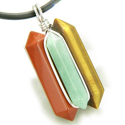 Crystal Point 925 Sterling Silver Universe Energy Wand Triple Lucky Necklaces