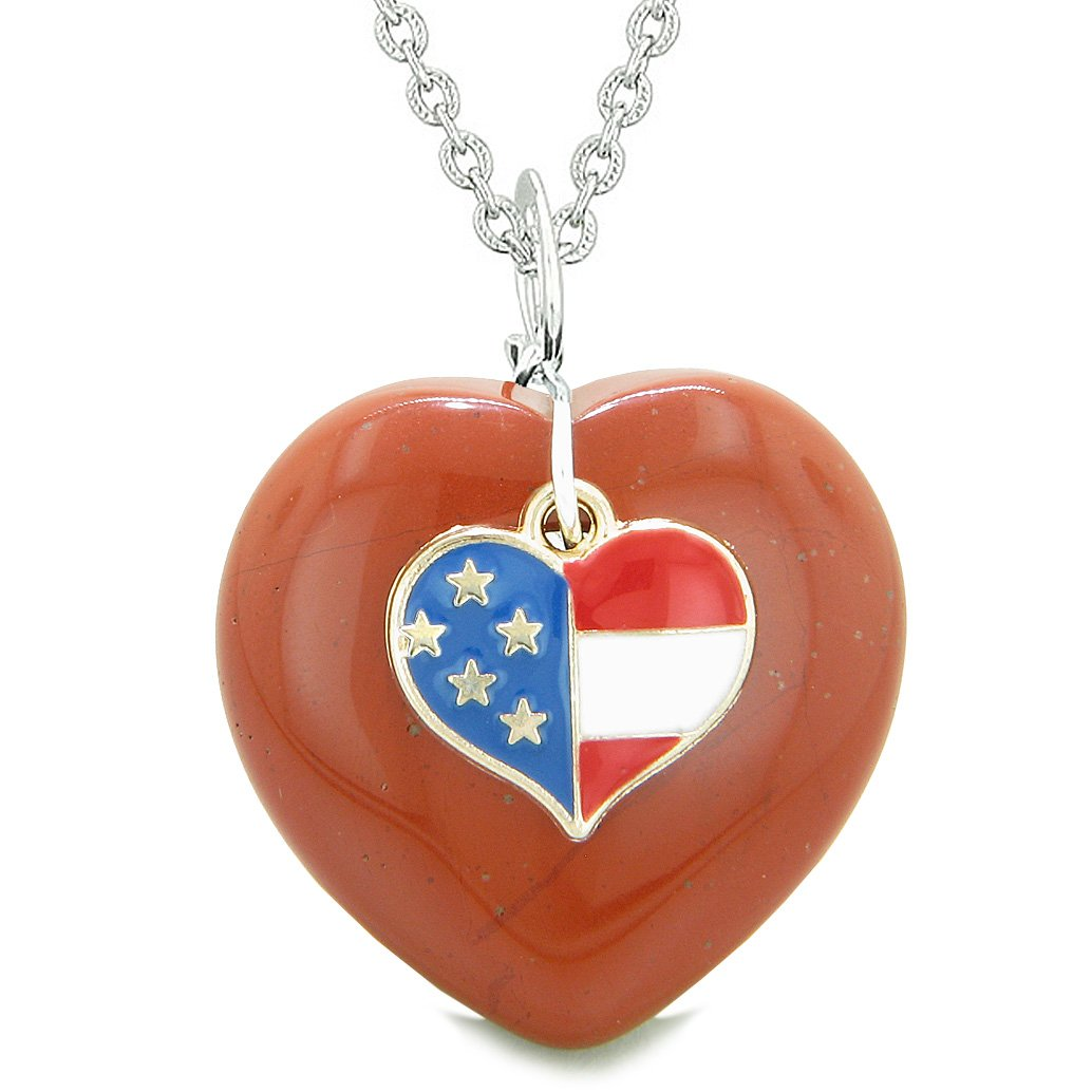 Gemstone Proud American Flag Lucky Heart Unique Necklaces and Jewelry