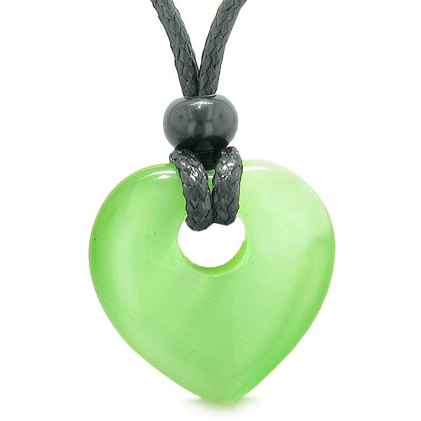 Lucky Crystal Hearts Magic Cats Eye Necklaces Jewelry and Amulets