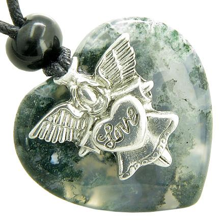 Lucky Crystal Hearts Natural Green Moss Agate Necklaces Jewelry and Amulets