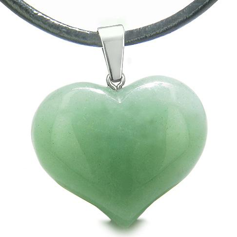 Lucky Crystal Hearts Natural Green Aventurine and Quartz Necklaces Jewelry and Amulets