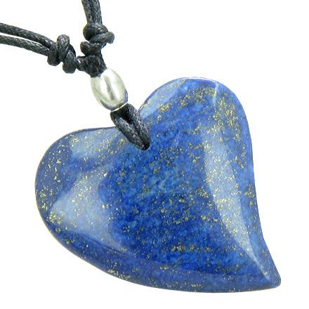 Lucky Crystal Hearts Natural Lapis Lazuli Necklaces Jewelry and Amulets