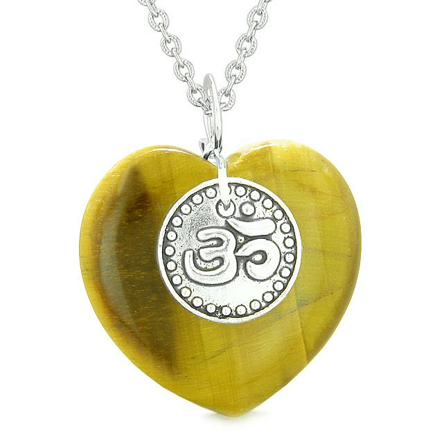 Lucky Crystal Hearts Natural Tiger Eye Necklaces Jewelry and Amulets
