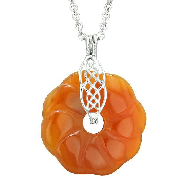 Lucky Donuts Pendants Natural Carnelian Gemstones Amulets and Talismans