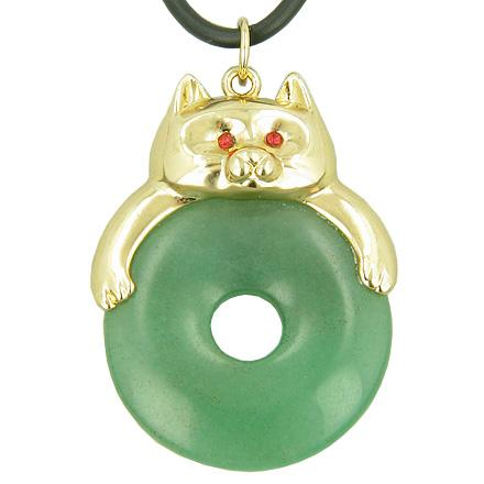 Lucky Donuts Pendants Natural Aventurine and Green Quartz Gemstones Amulets and Talismans