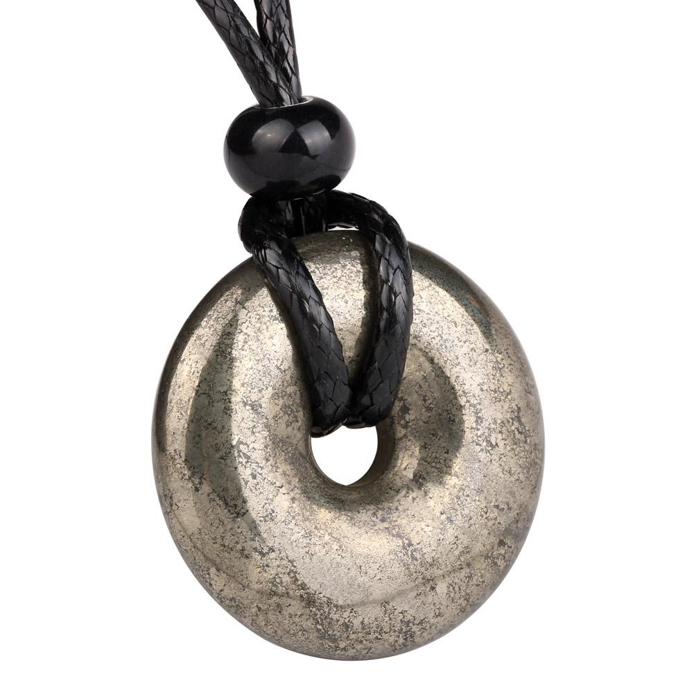 Lucky Donuts Pendants Natural Pyrite Iron Gemstones Amulets and Talismans