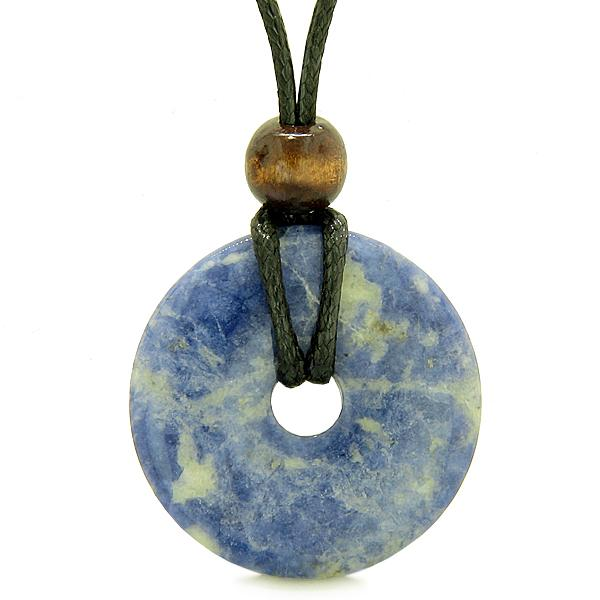 Lucky Donuts Pendants Natural Sodalite Gemstones Amulets and Talismans