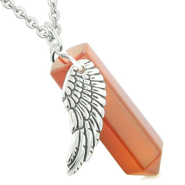 Unique Natural Carnelian Lucky Crystal Point Wand Necklaces Jewelry and Amulets
