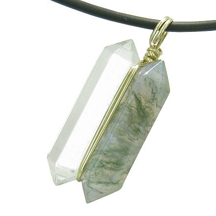 Unique Natural Green Moss Agate Lucky Crystal Point Wand Necklaces Jewelry and Amulets