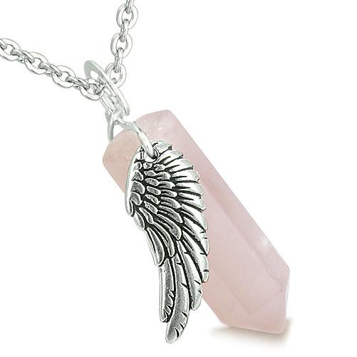 Guardian Angel Unique Lucky Crystal Point Pendants Wand Gemstone Necklaces and Charms