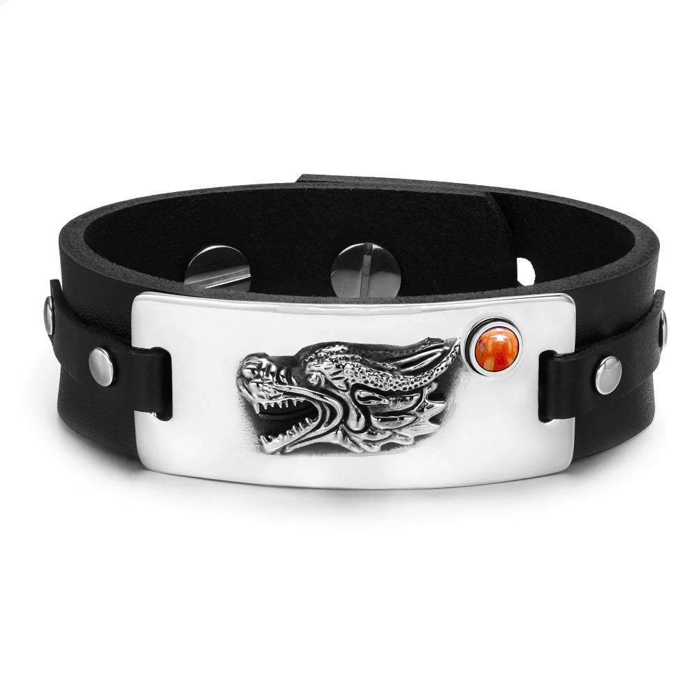 Courage Wise Dragon Ancient Powers Amulet Fashion Unique Leather Bracelets
