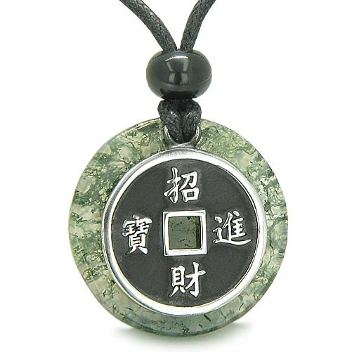 Gemstone Green Moss Agate Medallion Jewelry and Amulets