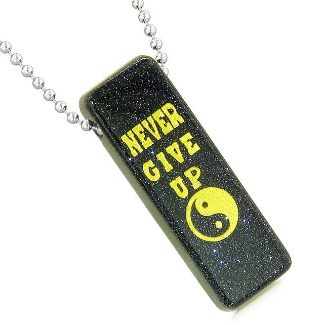 Inspirational Never Give Up Protection Powers Dog Tag Jewelry Amulets and Talismans