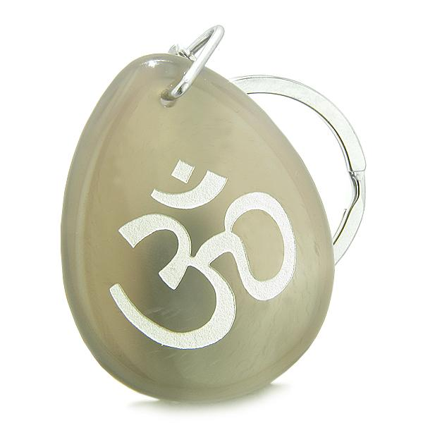 Tibetan Om Ohm Ancient Amulets in Onyx and Agate Gemstone