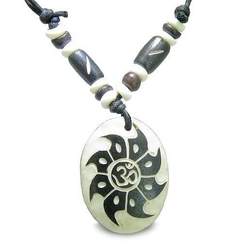Tibetan Om Ohm Symbols Mantra Buffalo Bone Jewelry Amulets and Talismans