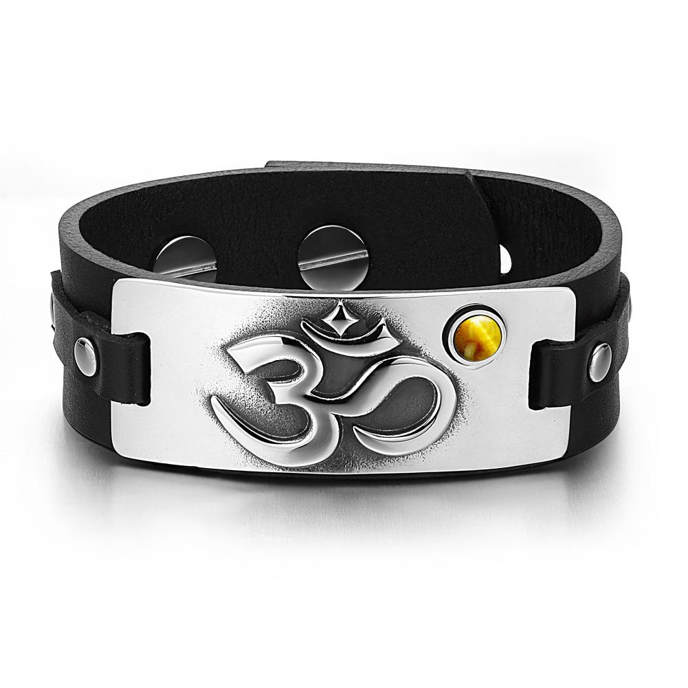 Om Ohm Ancient Tibetan Unique Amulet Leather Bracelets
