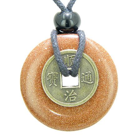 Positive Energy Talisman Goldstone Crystal Lucky Donut Coin Amulets and Gifts