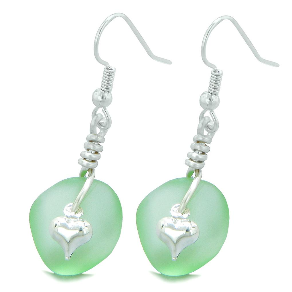 Sea Glass Jewelry Frosted Earrings Good Luck Amulets and Talismans Gifts