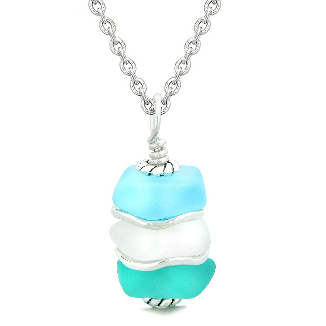 Sea Glass Jewelry Icy Frosted Waves Necklaces Good Luck Amulets and Talismans