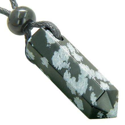 Snowflake Obsidian Gemstone Point Wand Jewelry and Amulets