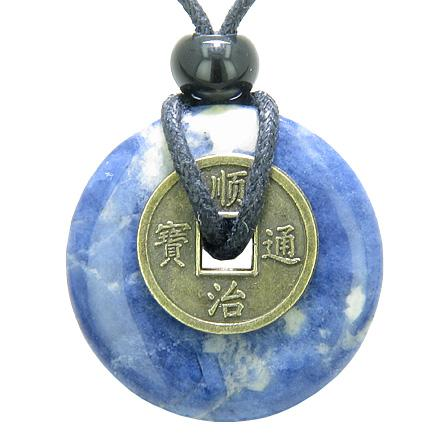 Sodalite Gemstone Lucky Donut and Coin Amulet Jewelry