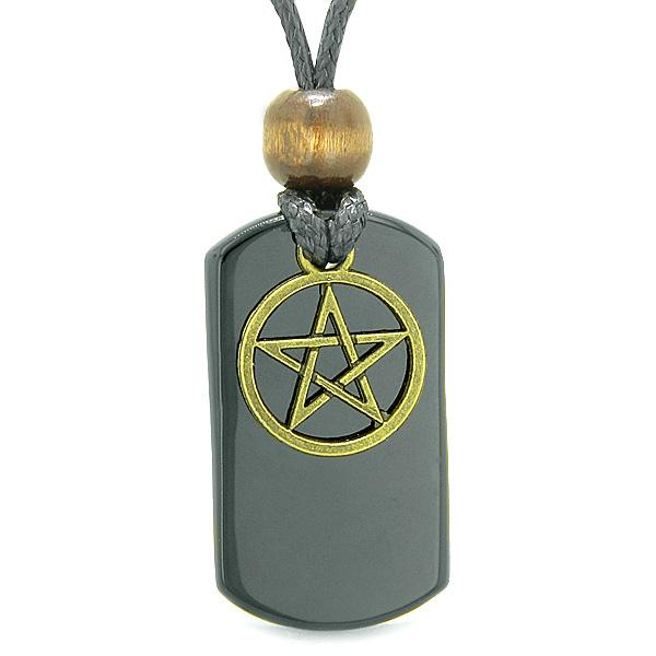 Lucky Stars and Pentacle Protection Magic Powers Dog Tag Jewelry Amulets and Talismans