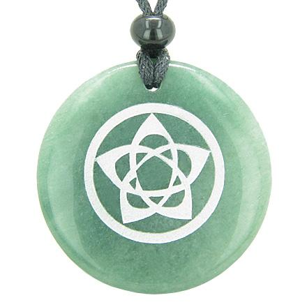 Lucky Totems Stars and Pentacles Green Quartz and Aventurine Amulets